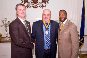 Stanley Hall being inducted into the Keystone Society for Tourism.  Photo by Ed Stoddard