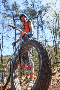 Evan Gross with his custom fatbike, photo by Abram Eric Landes