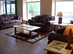 New seating area in the lobby of the Raystown Lake Region Visitors Center courtesy of Park Furniture of Huntingdon (Photo by Vickie Smith)