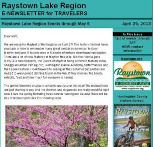 April 25, 2013 Raystown Lake Region newsletter