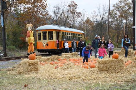 Enjoying the Rockhill Trolley Museum in the fall.