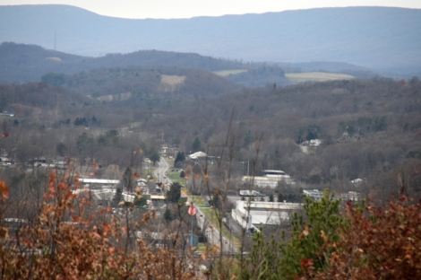 The view of Fairgrounds Road from the Flagpole Hill Trail (at the flagpole)